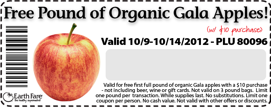 Earth Fare Coupons – Free Organic Gala Apples